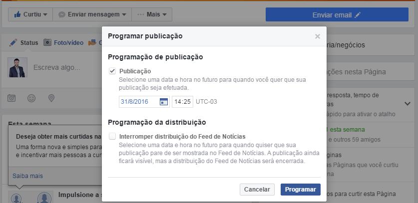Como programar uma publicação automática em sua página no facebook